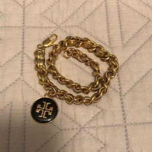 Tory Burch leather and chain double wrap bracelet